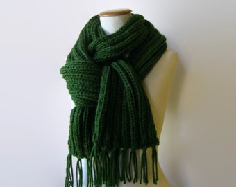 Scarf Knitted in Dark Green Chunky Wool with Fringes - Winter Fringes Scarf, Cute Long Man Scarf, Neck Warmer, Shawl, Multi Wrap Scarf