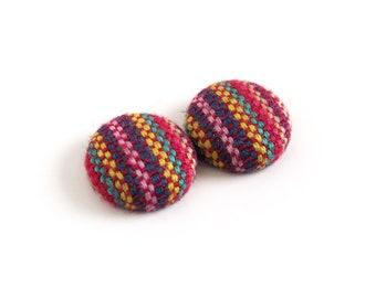 Ethnic earrings - stripe studs - tribal jewelry - bohemian jewelry - boho earrings - indian fabric button earrings purple red green yellow