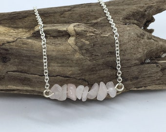 Rose Quartz Necklace, Minimalist Necklace, Rose Quartz Crystal, Dainty Necklace, Bar Necklace, Pink Necklace, Birthday Gift for Her