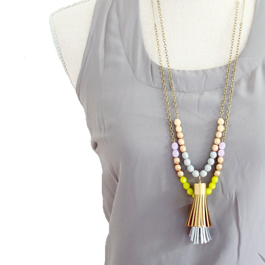 Unique Tassel Necklace Long Leather Tassel Necklace Color block TZ06