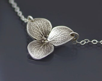 Hydrangea Blossom Necklace - Oxidized Sterling Silver Flower Imprint