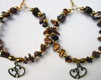 """Earrings tigers Eye chips goold beads bronze heart 2"""" hoop #3078a"""