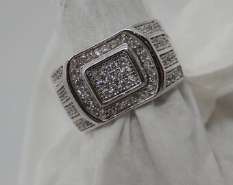 Gentlemans Dressy Sterling silver New Generation Synthetic Diamond Simulent Pave' set & just awesome for Fathers day!