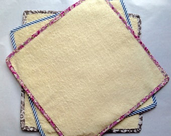 Wash Cloth - SMALL -  Unbleached Organic Cotton Towelling - Bias Edged - Organic - Flannel