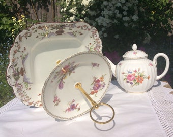 2 tier Floral Vintage cake stand, Aynsley Pottery, 1940s macaron stand, a large cake stand for that special occasion