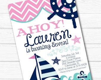 "Diy Personalized Pink ""Preppy Nautical"" Seaside Beach Birthday Party Digital Printable 4""x6"" or 5""x7"" Invitation"
