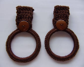 crocheted hanging towel holder set of 2, brown kitchen towel ring, hand towel holder, crochet kitchen decor, RV towel holder, towel holders
