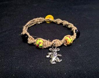 Rasta and Black Dancing Bear Natural Hemp Bracelet