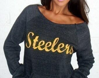 YOUR TEAM Wide Shoulder Sweatshirt. Football Sweatshirt. Steelers Sweatshirt. Custom Football Sweater. Women's Football Apparel. Custom Top.