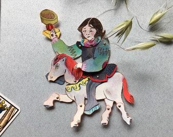 Horseman, articulated paper doll, horse doll, paper decoration, tarot decor, tarot wall art, paper dolls in handmade, arcane art, occult art