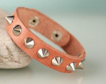 Mens biker  leather  bracelet with adjustable snap. Spiked Leather Bracelet.Mens bracelet.