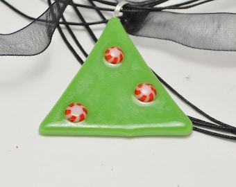 Fused glass christmas tree Pendant, Necklace
