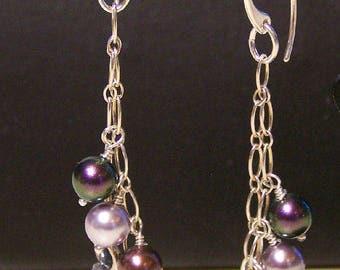 Sterling Silver Swarovski Pearl Key Earrings by Sapphireskies Designs