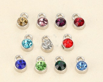 12 pcs Birthstone Metal Colored Clear Charms Pendants 6mm Acrylic Necklace and Bracelet BM040618