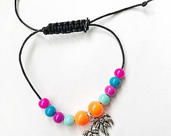 Palm Tree Bracelet, Palm Tree Bracelet, Adjustable Bracelet, Black Cord Bracelet, Summer Bracelet, Palm Tree Jewellery, Gift For Her