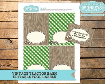 Vintage Tractor Bash Farm Tent Cards Food Labels - INSTANT Download