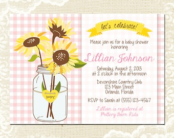 Sunflower Baby Shower Invitation - Mason Jar Baby Shower Invite - Pink Gingham - Summer Picnic - Girl Baby Shower - 1270 PRINTABLE