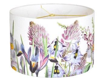 MEDIUM Linen Violet Garden Party Lamp Shade - Botanical Drum Lampshade - 10 11 12 Inch Custom Made to Order Flower Lamp Shade