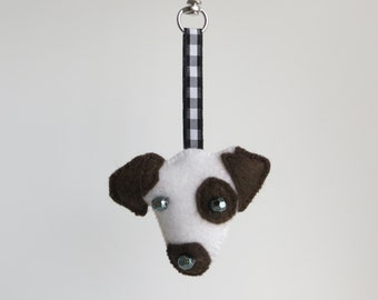 Jack Russell Terrier hand sewn felt bag charm