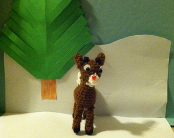FREE SHIPPING! Crochet Rudolph, Handmade Rudolph, Rudolph Collection Character, Collectible Item