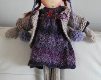 Waldorf Doll, Soft Doll, Knitted Doll, Handmade Doll, Purple Doll, Waldorf Toy, Steiner Doll