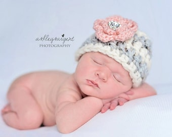 Newborn girl hat, baby girl hat, baby girl coming home outfit, infant girl hat with flower, baby shower gift, baby girl clothes, photo prop