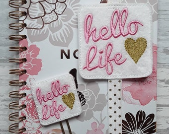 Gorgeous 'Hello Life' Planner Band And Matching Clip.  Available as a set or seperately.  Stationery Bookmark. Page Marker.  UK SELLER!