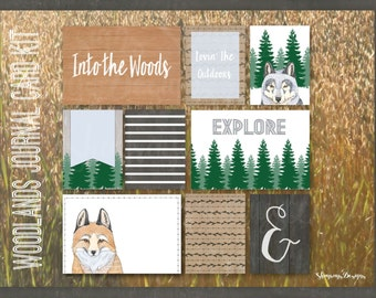 Woodlands Printable Journal Kit // Forest Animals Children's Pocket Scrapbooking // Instant Download // Camping Journal Cards Papercrafting