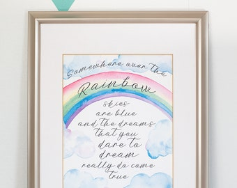 Rainbow Wall Art, Printable Rainbow Party Poster, Somewhere Over the Rainbow Watercolor Art, Rainbow Party Decor 8x10 PDF INSTANT DOWNLOAD