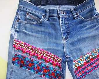Patched Jeans / Womens Jeans / Upcycled Jeans / Hippie Clothes / Boho / Shredded Jeans / Grunge Jeans / Hippie Jeans / Wrangler Jeans