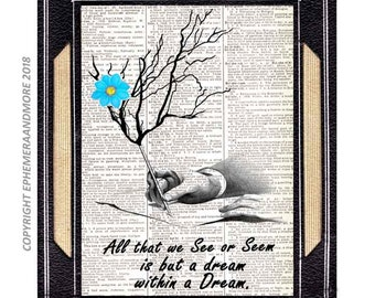 "Edgar Allan Poe Quote "" All that we see or seem is a but a dream"" art print wall decor on upcycled vintage dictionary book page customize"