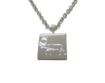 Silver Toned Etched Left Facing Moose Pendant Necklace