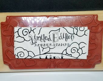 """Limited Edition """"Hearts"""" Retired Large Rubber Stamps, Double Sided Block Stamp - NEW"""