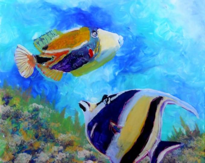 Hawaiian Tropical Fish 2 - 8 x 8  Art Print - Kauai Hawaii - Childrens Wall Art - Humuhumu Moorish Idol Angel Reef Fish Art - Kids Ocean Art
