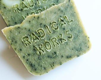Spirulina Soap - Fragrance Free Unscented Vegan Soap - Natural Handmade Cold Process Coconut Oil Olive Palm - Easter Gift