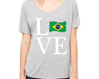 Love Brazil  Womens Shirts Slouchy