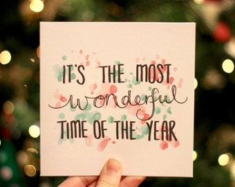 It's the most wonderful time of the year - Hand-lettered Christmas Card