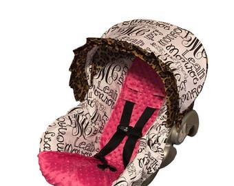 Your Baby's Name printed fabric Car seat cover with hot pink minky Dots, leopard cheetah personalized infant carseat cover