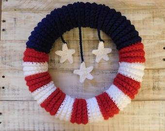 Crochet American Flag Wreath Pattern-Digital Download