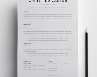 Creative Resume Template, Minimalist Resume, Resume, Modern Resume, CV  Template, CV