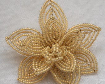 Vintage Three Dimensional Sculpted Bead Large Flower Brooch in Ivory