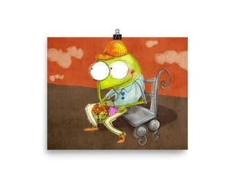 Frog Poster, Frog Art Print, Illustration, Whimsical Art
