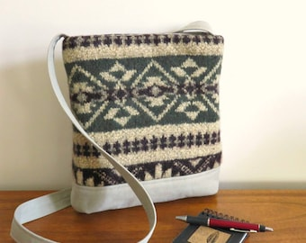 JAMES Shoulder Bag in Navajo Pattern Sweater Wool and Cotton Canvas, Eco Friendly Upcycled Purse