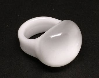 White Blown Glass Ring