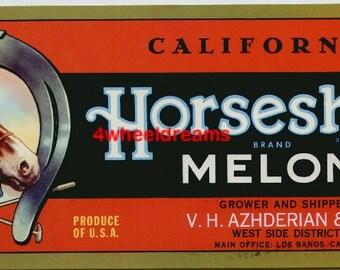 1950s Horse Lucky Horseshoe California Melon Crate Label Los Banos