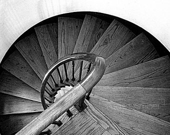 Black And White Photography - Wooden Staircase Fine Art Photograph - 5x7