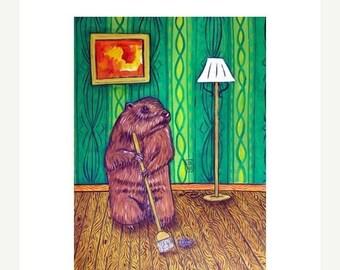 Woodchuck Sweeping the Floor Animal Art Print