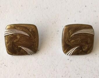 80s Stud Earrings, Square Costume Earrings, Marble Brown Swirly Pierced Earrings, Novelty Statement Earrings, Cocktail Earrings