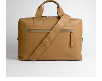 Tan mens work bag / minimal and simple full grain leather, premium quality , made for life.