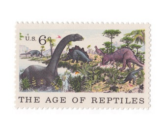 10 Unused Vintage Postage Stamps - 1970 6c Museum of Natural History - Age of Reptiles - Dinosaurs - Item No. 1390